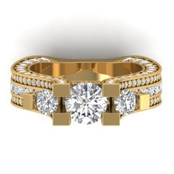 5.5 CTW Certified VS/SI Diamond Art Deco 3 Stone Micro Ring 14K Yellow Gold - REF-638M9F - 30296