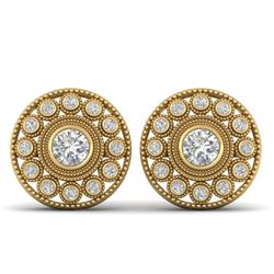 1.11 CTW Certified VS/SI Diamond Art Deco Stud Earrings 14K Yellow Gold - REF-134K5W - 30467