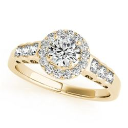 1.30 CTW Certified VS/SI Diamond Solitaire Halo Ring 18K Yellow Gold - REF-219M5F - 26978