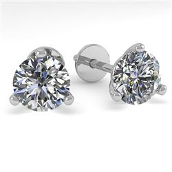 1.01 CTW Certified VS/SI Diamond Stud Earrings 18K White Gold - REF-151N8A - 32202