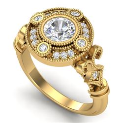 1.12 CTW VS/SI Diamond Solitaire Art Deco Ring 18K Yellow Gold - REF-250N2A - 36979