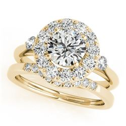 1.21 CTW Certified VS/SI Diamond 2Pc Wedding Set Solitaire Halo 14K Yellow Gold - REF-144V9Y - 30761