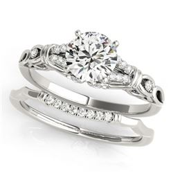 1 CTW Certified VS/SI Diamond Solitaire 2Pc Wedding Set 14K White Gold - REF-187H5M - 31895