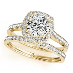 1.12 CTW Certified VS/SI Diamond 2Pc Wedding Set Solitaire Halo 14K Yellow Gold - REF-157M5F - 31213