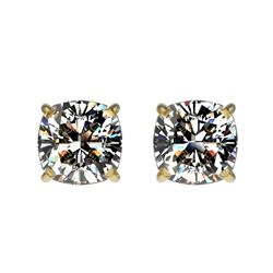 1 CTW Certified VS/SI Quality Cushion Cut Diamond Stud Earrings 10K Yellow Gold - REF-147Y2X - 33068