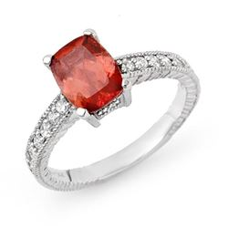 1.40 CTW Rubellite & Diamond Ring 14K White Gold - REF-50A2V - 13689