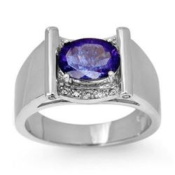 2.18 CTW Tanzanite & Diamond Men's Ring 10K White Gold - REF-46F2N - 13490