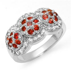 1.50 CTW Red Sapphire & Diamond Ring 14K White Gold - REF-76A2V - 10655