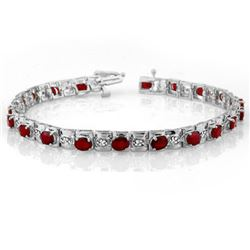 6.09 CTW Ruby & Diamond Bracelet 14K White Gold - REF-109X3R - 10591