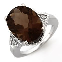 9.18 CTW Smoky Topaz & Diamond Ring 14K White Gold - REF-50A4V - 11648