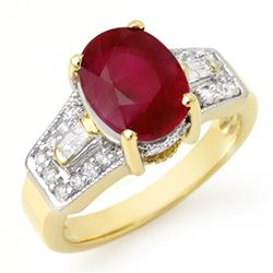 5.55 CTW Ruby & Diamond Ring 10K Yellow Gold - REF-64N2A - 11701