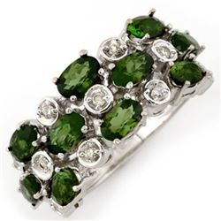 3.20 CTW Green Tourmaline & Diamond Ring 10K White Gold - REF-56M5F - 10964