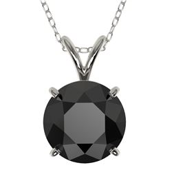 2.09 CTW Fancy Black VS Diamond Solitaire Necklace 10K White Gold - REF-44R5K - 36811