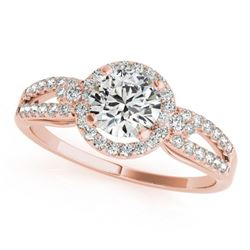 0.75 CTW Certified VS/SI Diamond Micro Pave Solitaire Halo Ring 18K Rose Gold - REF-119R3K - 26803