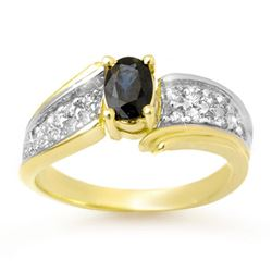 1.40 CTW Blue Sapphire & Diamond Ring 10K Yellow Gold - REF-46R4K - 13315