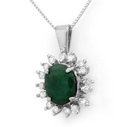 4.20 CTW Emerald & Diamond Pendant 14K White Gold - REF-78V2Y - 13606