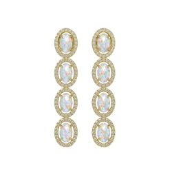 4.05 CTW Opal & Diamond Earrings Yellow Gold 10K Yellow Gold - REF-112A7V - 40519