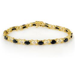 10.81 CTW Blue Sapphire & Diamond Bracelet 14K Yellow Gold - REF-77R5K - 13823
