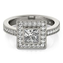 1.11 CTW Certified VS/SI Princess Diamond Solitaire Halo Ring 18K White Gold - REF-209H3M - 27189