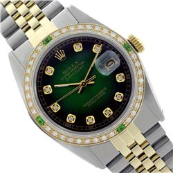 Rolex Men's Two Tone 14K Gold/SS, QuickSet, Diam Dial & Diam/Emerald Bezel - REF-557K7T