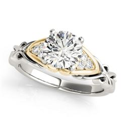 1.10 CTW Certified VS/SI Diamond Solitaire Ring 18K White & Yellow Gold - REF-309V7Y - 27825