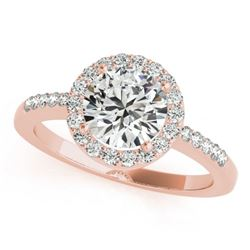 0.50 CTW Certified VS/SI Diamond Solitaire Halo Ring 18K Rose Gold - REF-69K6W - 26321