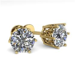 2.0 CTW Certified VS/SI Diamond Stud Solitaire Earrings 18K Yellow Gold - REF-490A4V - 35845