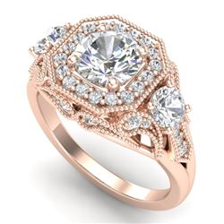 2.11 CTW VS/SI Diamond Solitaire Art Deco 3 Stone Ring 18K Rose Gold - REF-490A9V - 37329