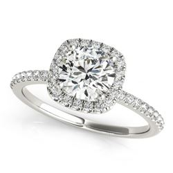 1 CTW Certified VS/SI Diamond Solitaire Halo Ring 18K White Gold - REF-188A2V - 26197