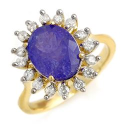 3.05 CTW Tanzanite & Diamond Ring 10K Yellow Gold - REF-96N7A - 13801