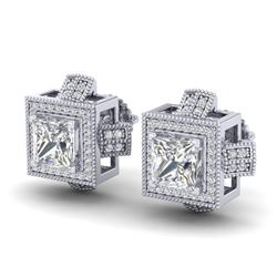 2.75 CTW Princess VS/SI Diamond Micro Pave Stud Earrings 18K White Gold - REF-684K3W - 37187