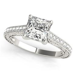 0.80 CTW Certified VS/SI Princess Diamond Solitaire Ring 18K White Gold - REF-134V4Y - 27639