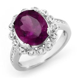 4.33 CTW Amethyst & Diamond Ring 10K White Gold - REF-66Y4X - 13442