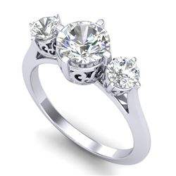 1.51 CTW VS/SI Diamond Solitaire Art Deco 3 Stone Ring 18K White Gold - REF-427R3K - 37235