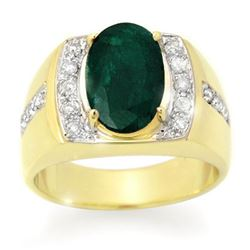 4.58 CTW Emerald & Diamond Men's Ring 10K Yellow Gold - REF-73X8R - 14486