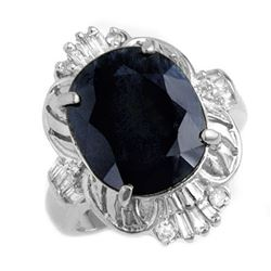 8.51 CTW Blue Sapphire & Diamond Ring 18K White Gold - REF-109W3H - 13229
