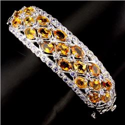 Natural Yellow Citrine & Tanzanite Bangle