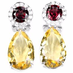 NATURAL CITRINE RHODOLITE GARNET Earrings