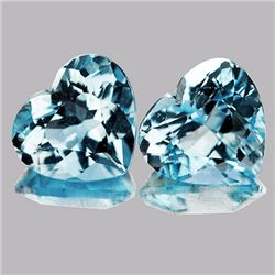 Natural Sky Blue Aquamarine Hearts Pair 6.5 MM - FL