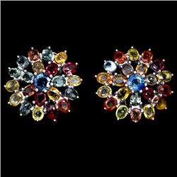 Natural Fancy Color Sapphire Flower Earrings