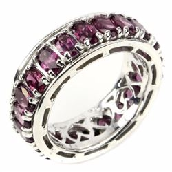 Natural  Pink Raspberry Rhodolite Garnet Eternity Band