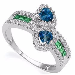 Natural Heart London Blue Topaz & Emerald Ring