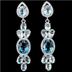 Natural Sky & London Topaz 50 Carats  Earrings