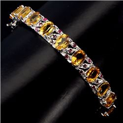 Natural  Yellow Citrine Red Ruby Bangle
