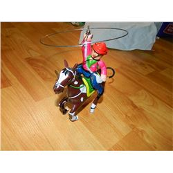 METAL WIND-UP TOY - HORSE & COWBOY WITH LASSO