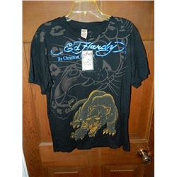 "T-SHIRT - DON ED HARDY - WITH COLORED JEMS ATTACHED - ""ED HARDY BY CHRISTIAN AUDIGER"" PANTHER IN GOL"