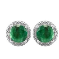 **** FEATURE ITEM **** EARRINGS - 2 2/5 CTW ENHANCED GENUINE EMERALD S & GENUINE DIAMONDS IN 925 STE