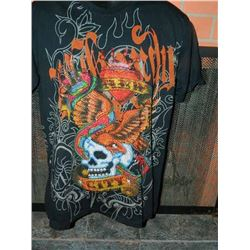 """T-SHIRT - ED HARDY - WITH COLORED JEMS ATTACHED - """"NEW YORK CITY"""" - SKULL WIHT EAGLE, SNAKE, CROWN O"""