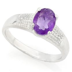 RING - 1 2/5 CARAT AMETHYST & DIAMOND IN 925 STERLING SILVER SETTING - SZ 8 - RETAIL ESTIMATE $400