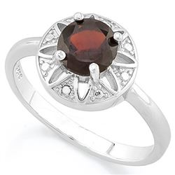 RING - 1 CARAT GARNET & DIAMOND IN 925 STERLING SILVER SETTING - SZ 8 - RETAIL ESTIMATE $450